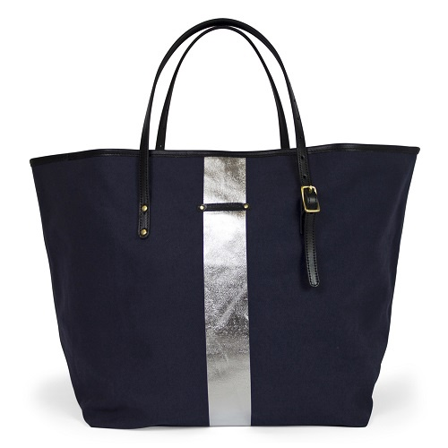 Silver Striped Beach Tote | Navy