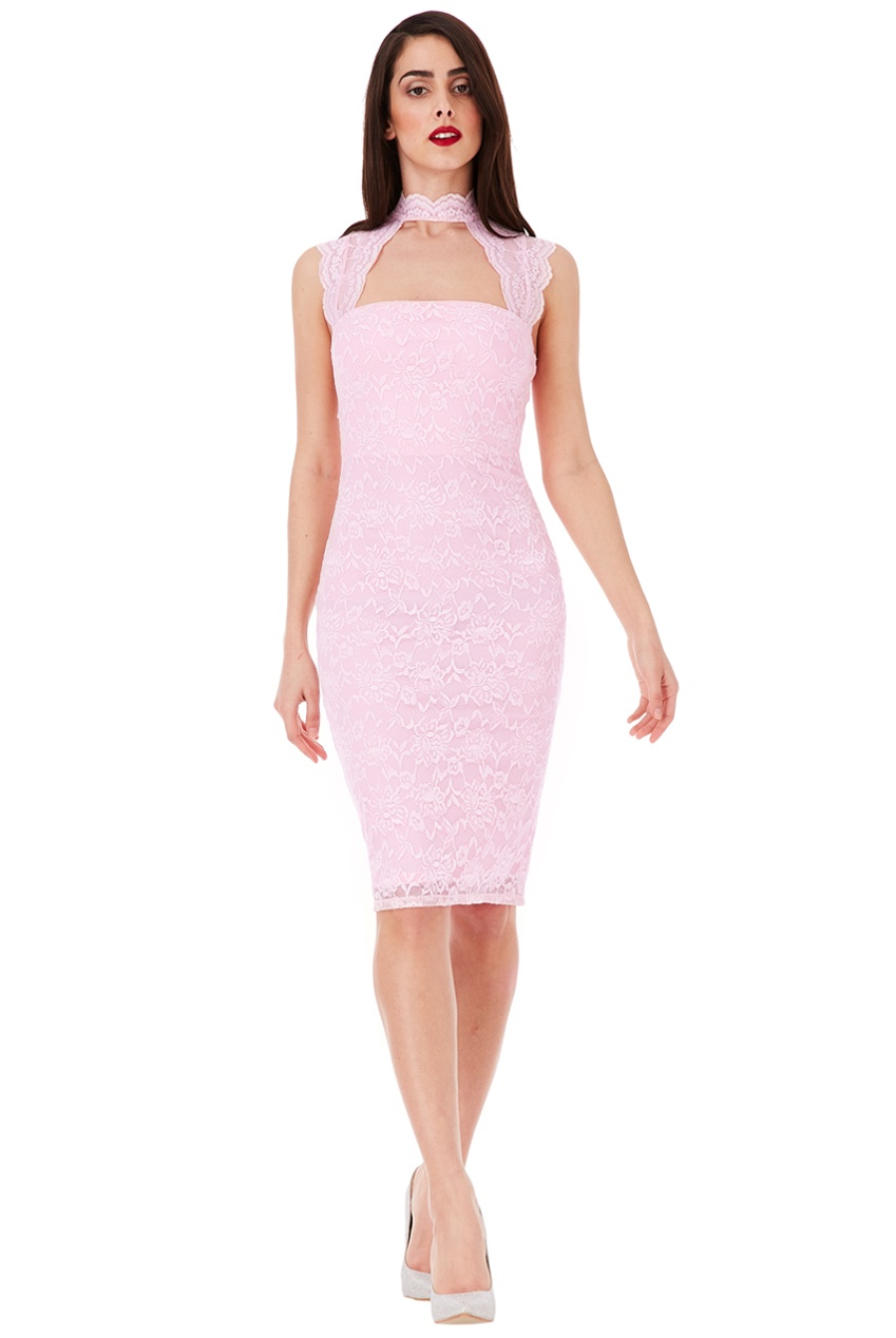 Short Dress - Baby Pink Lace Knee Length BodyCon Dress, Sale Rack