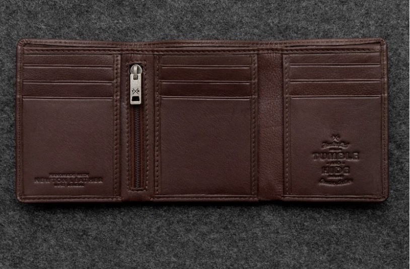Newton leather three fold leather wallet