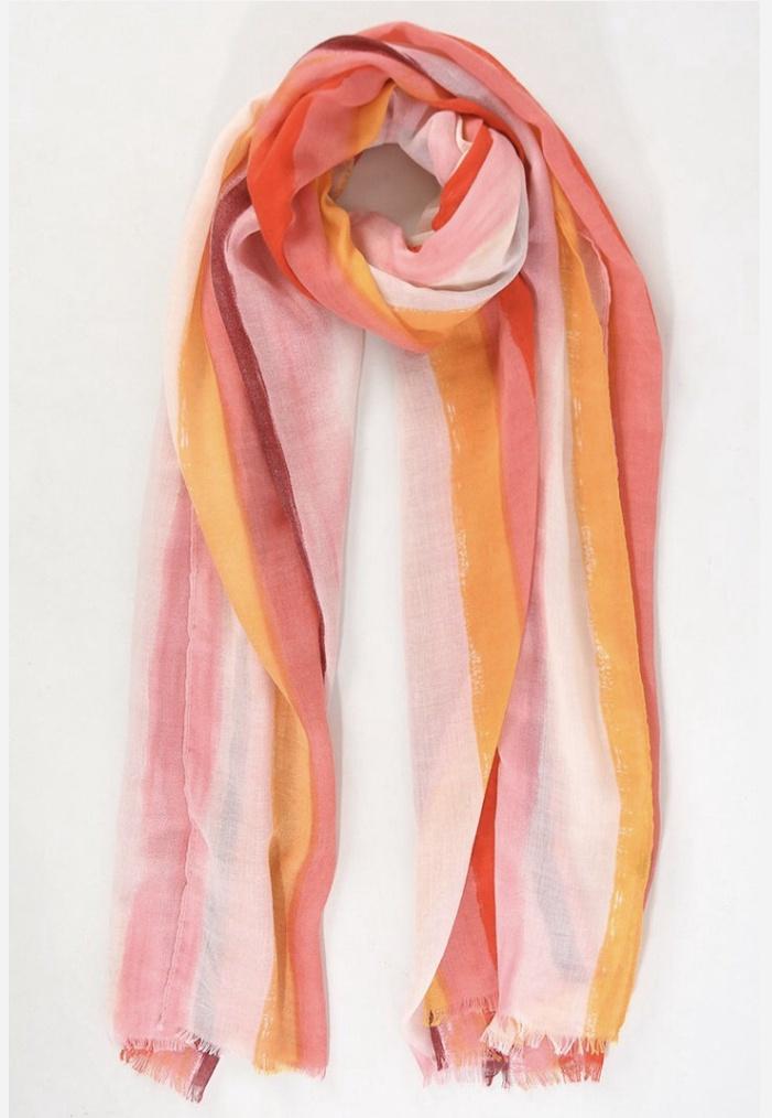 Pink watercolour stripe scarf