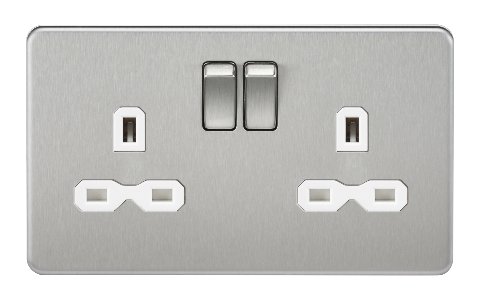 SCREWLESS 13A 2G DP SWITCHED SOCKET - BRUSHED CHROME WITH WHITE INSERT