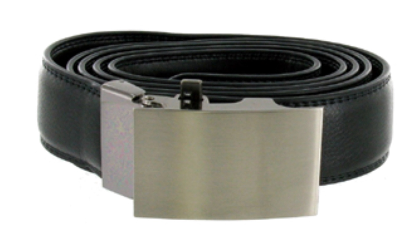Black Leather Belt with a Brushed Steel Buckle