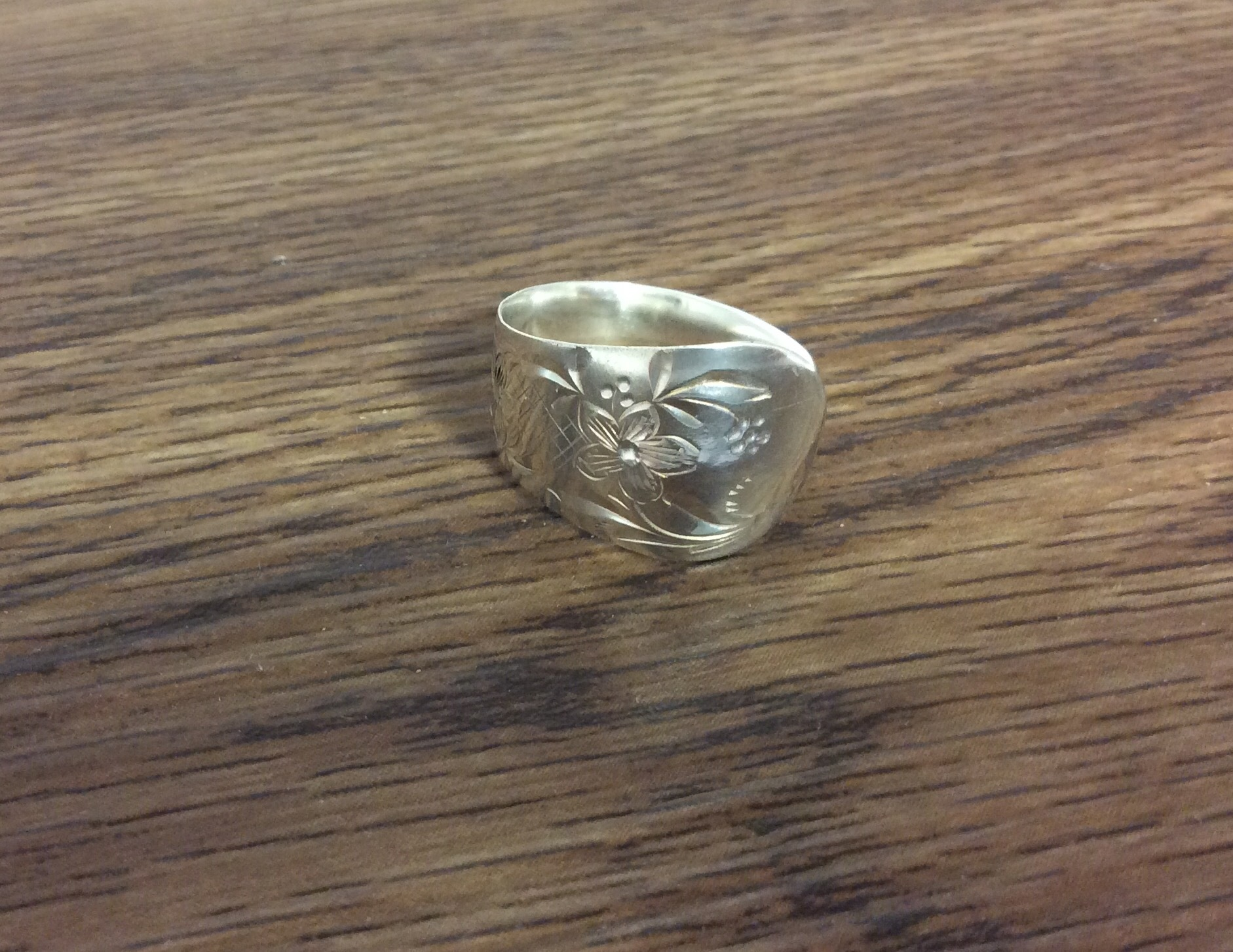 Antique Sterling Silver Spoon Ring (C 1900) - Size P