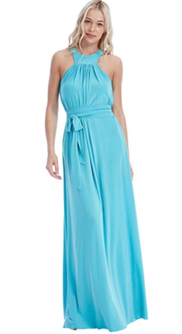 Turquoise bridesmaid floor length dress.