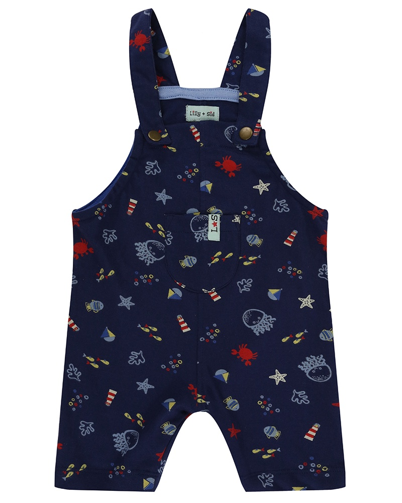 Lilly & Sid SHORT DUNGAREES - UNDER THE SEA