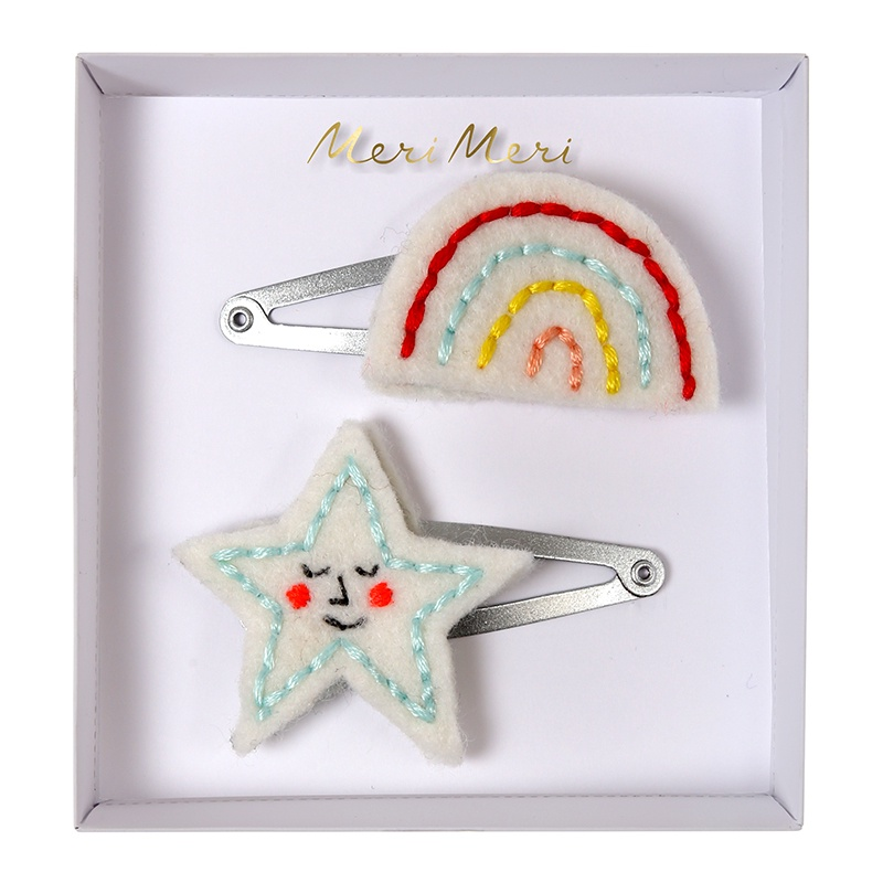 EMBROIDERED RAINBOW AND STAR HAIR CLIPS