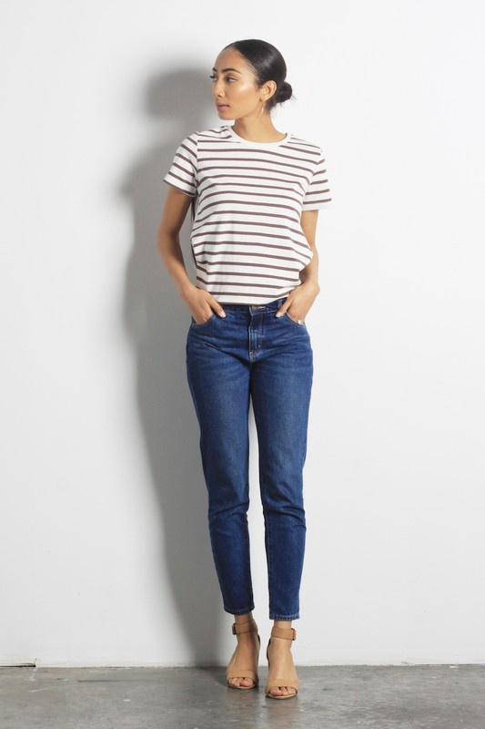 Brn/Wht Stripe Top w Tie Back