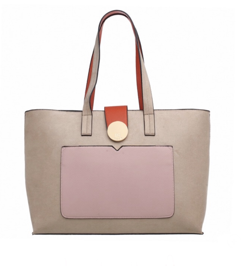 Genoa Shopper with Front Pocket Beige