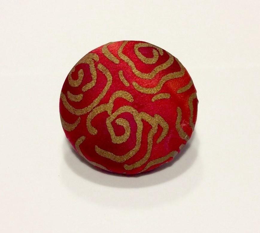 Hand painted silk brooch