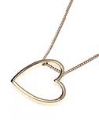Long gold necklace with a hollow heart