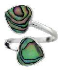 Ring Paua Two Hearts Open