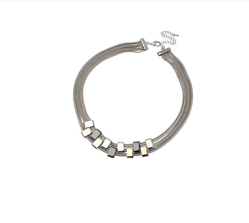 3 colour metal multi chain necklace