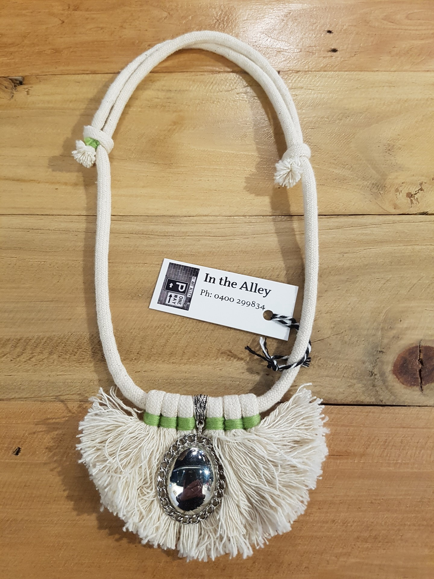 Boho Rope Necklace with Silver Accent