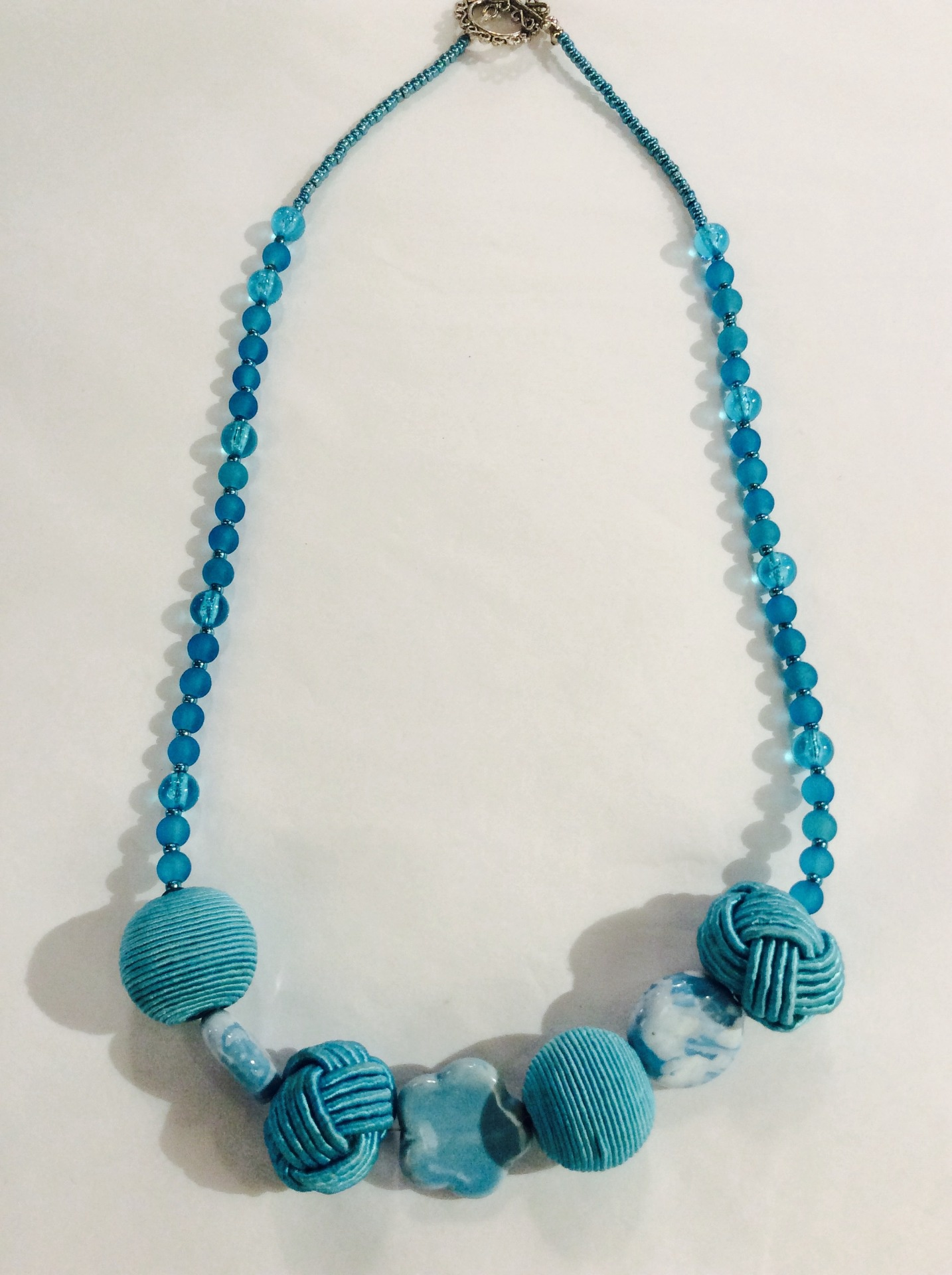Blue Necklace with Vintage Rope Beads