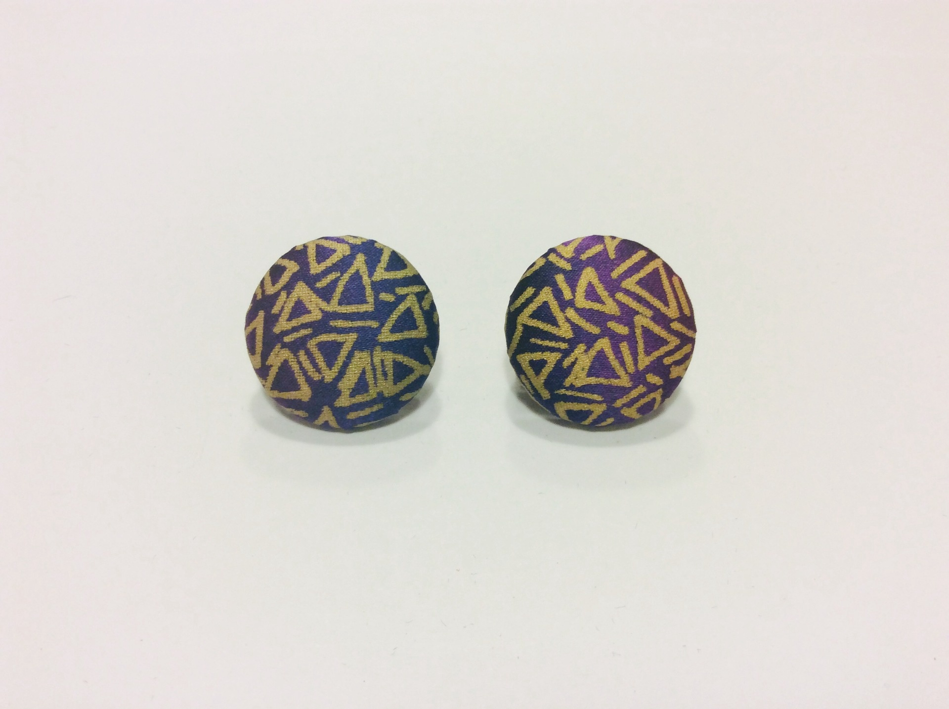 Purple and gold round hand painted silk clip on earrings
