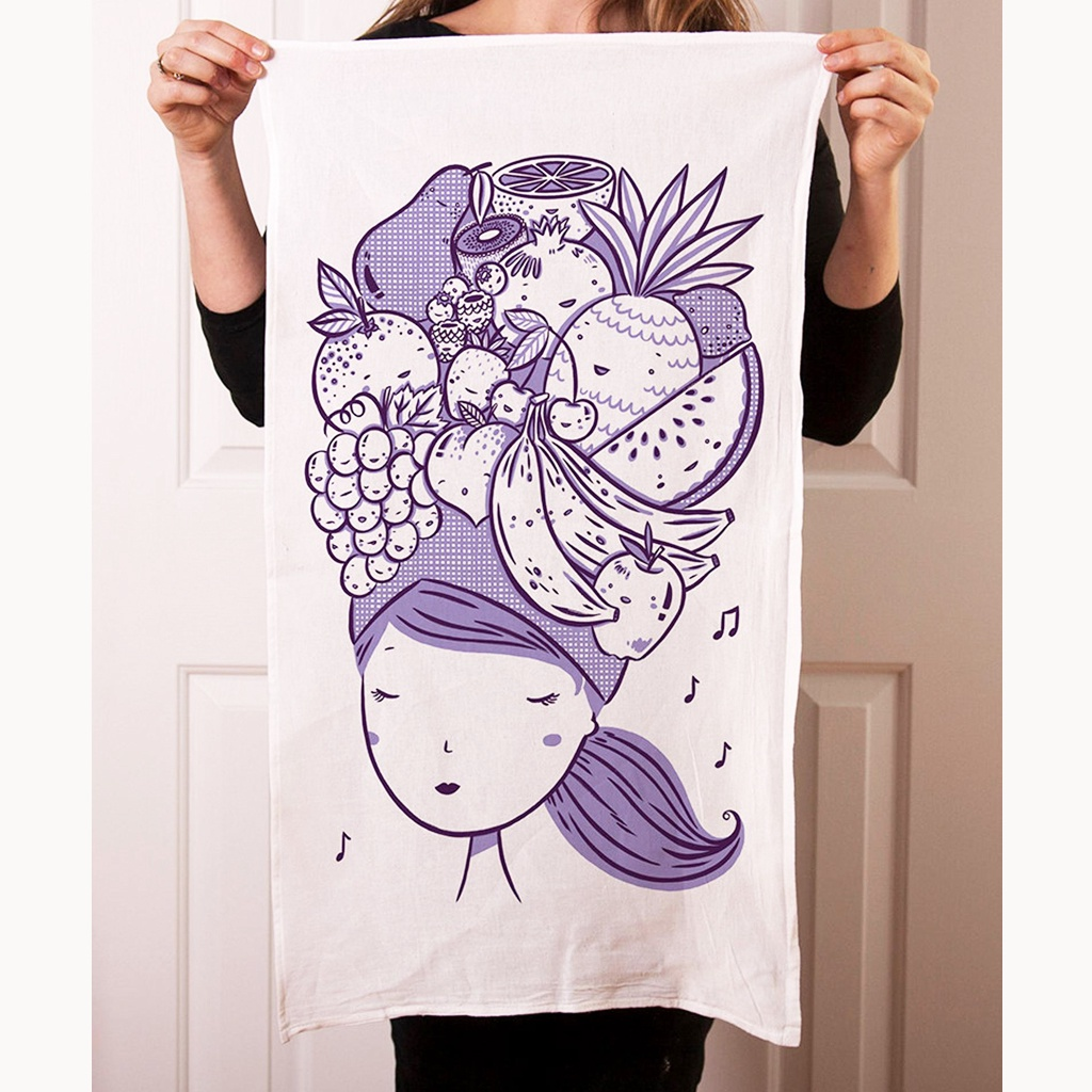 Fruit Hat Girl Tea Towel