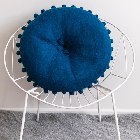 FELT CUSHION - PEACOCK BLUE