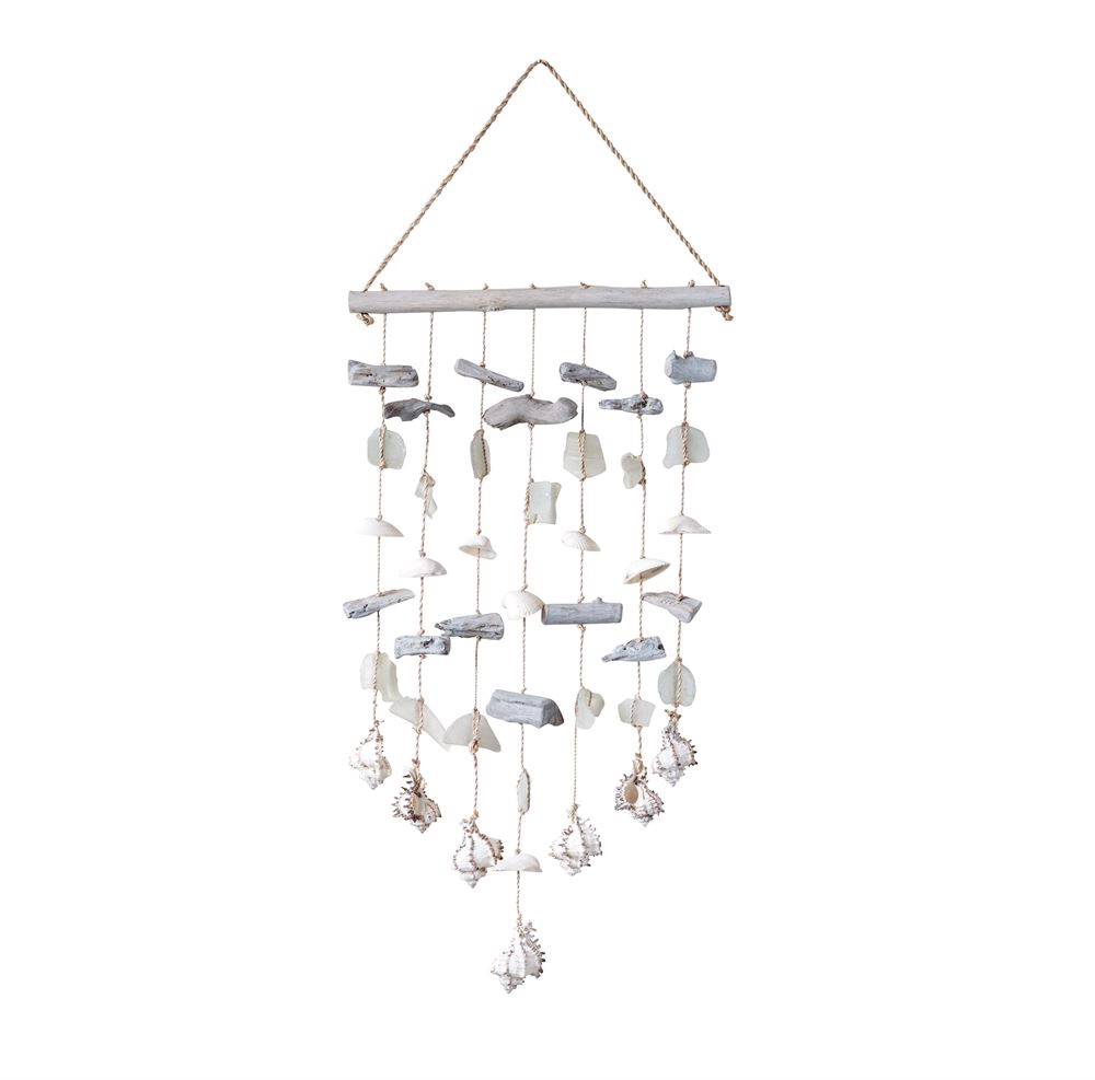 CC-Sea Glass, AbacaWood& Shell Hanging Wind Chime