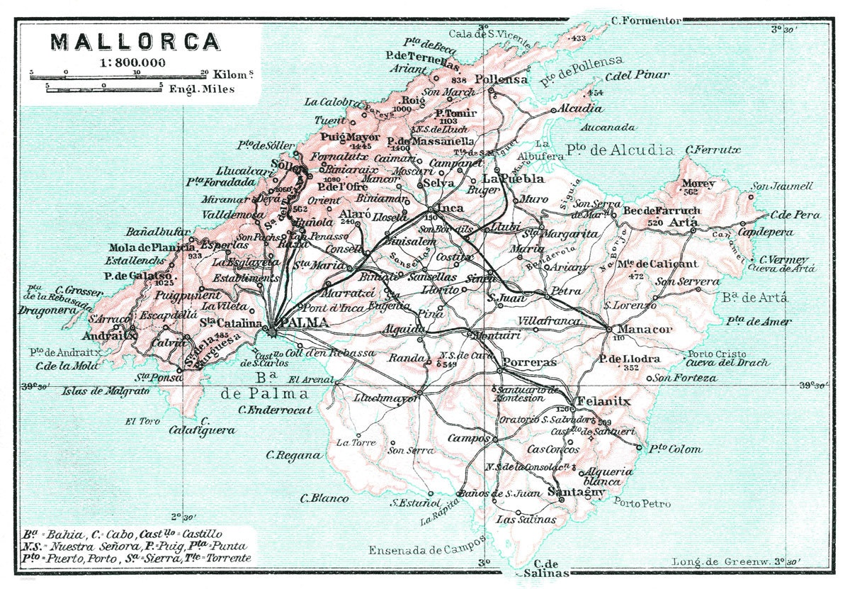 Mallorca Island Map | Print Only