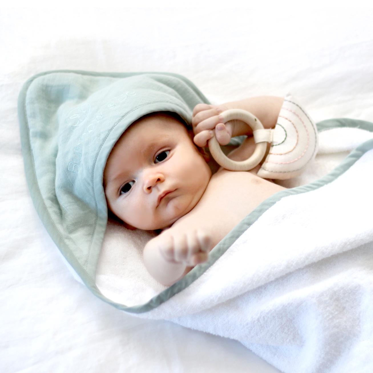 BABY HOODED TOWEL - MIST