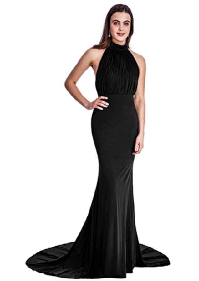 Black Halter neck, fishtail, floor length dress