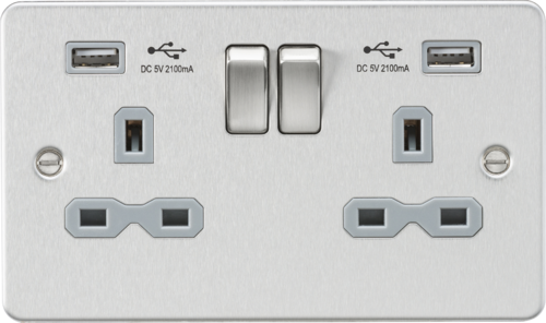 Flat plate 13A 2G switched socket with dual USB charger - brushed chrome with grey insert