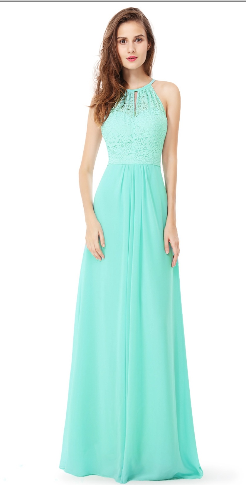 Floor Length Gown - Turquoise Green Lace Top Maxi Dress, NEW