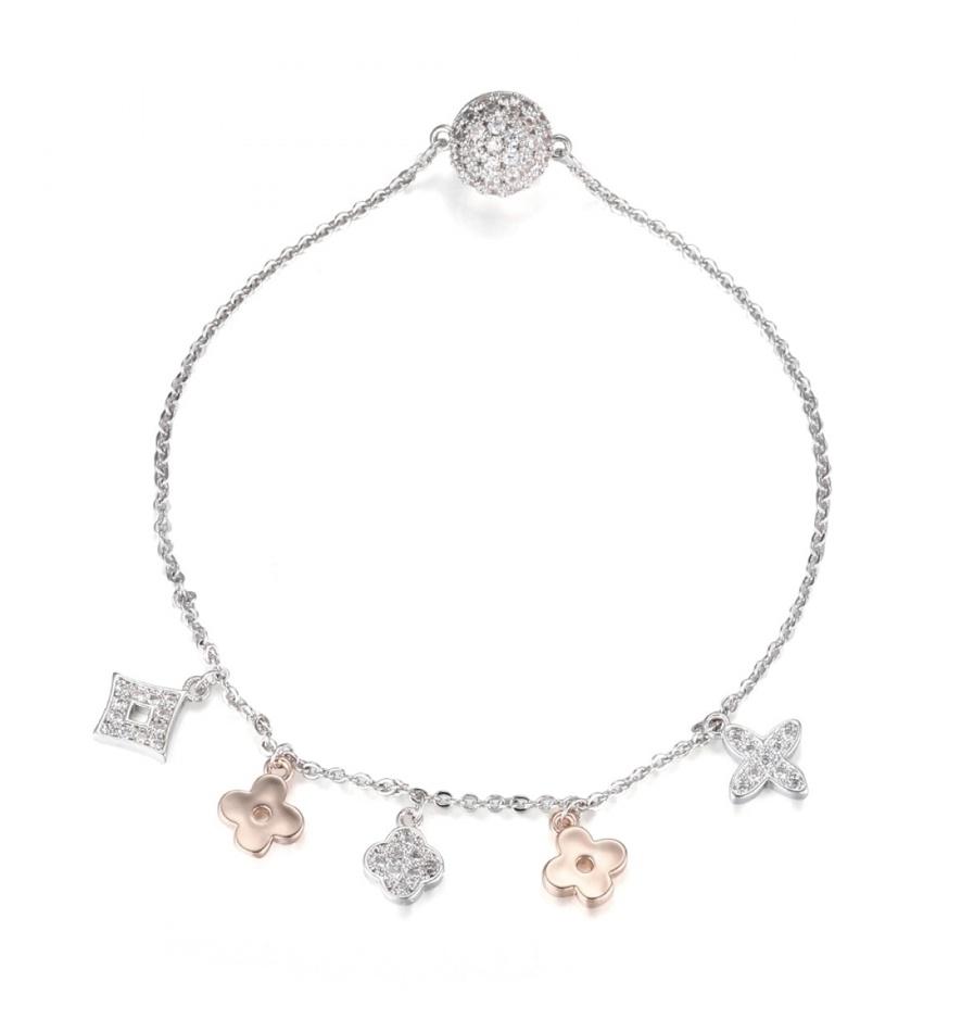Silver plated clover charm bracelet