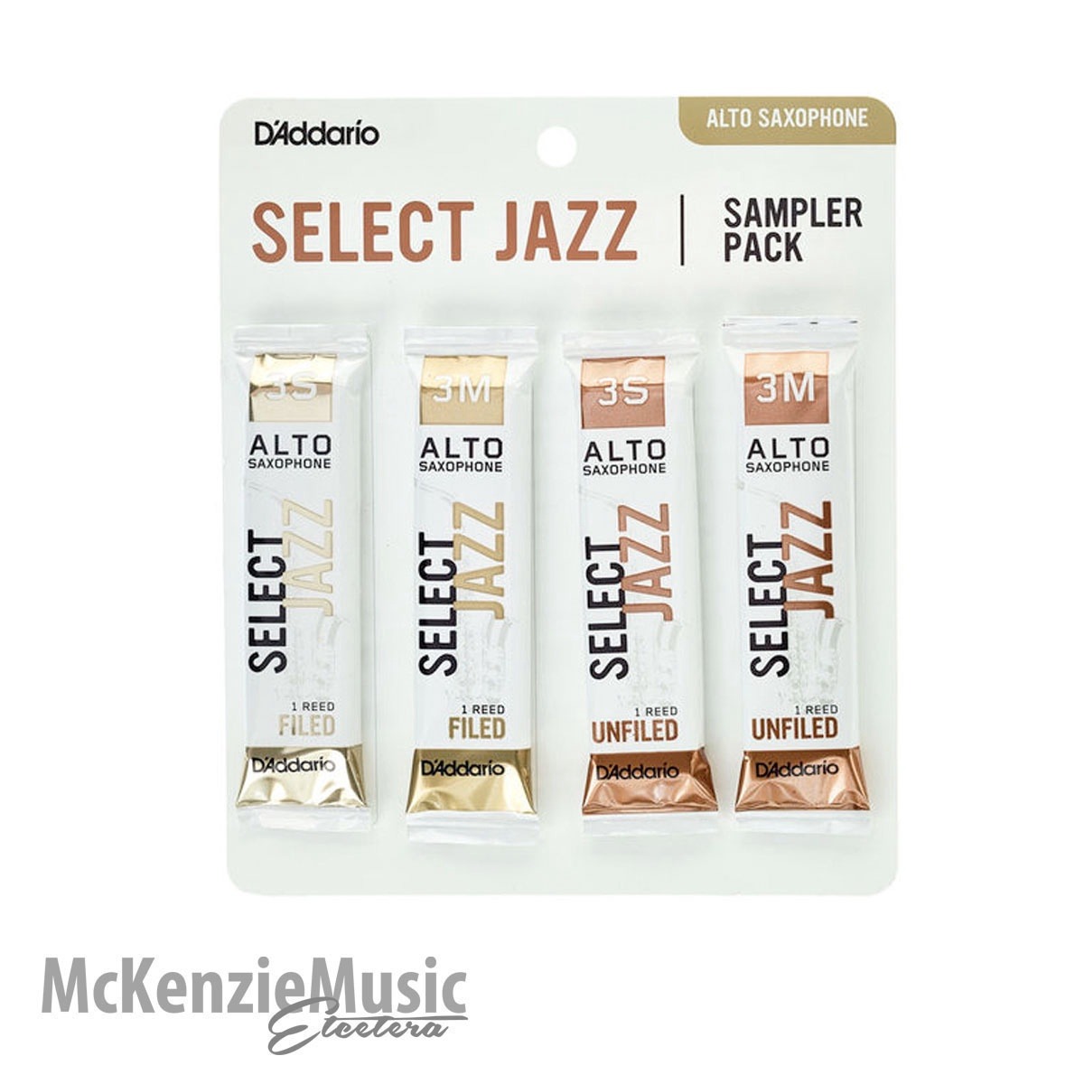 D'Addario Select Jazz Alto Sax Reed Sample Pack Size 3