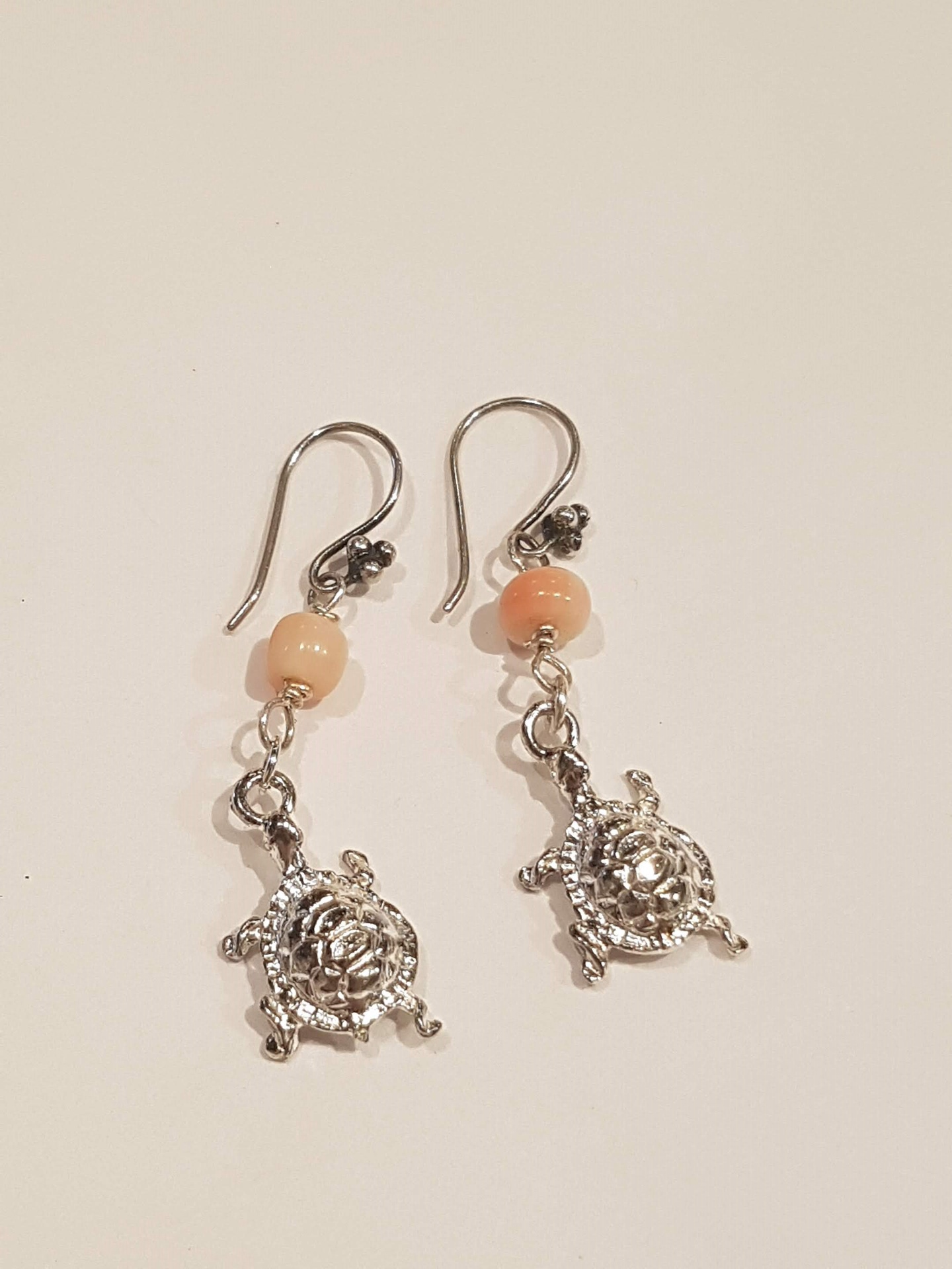 Turtle Earrings with Pink Coral