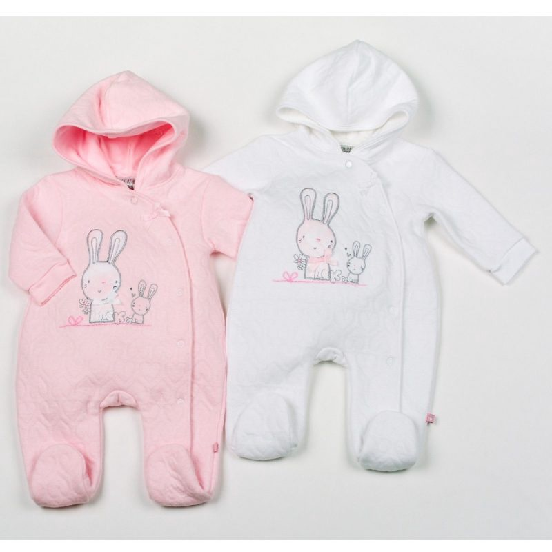 Baby Girls Bunny Cotton Rich Quilted Jacquard All In One