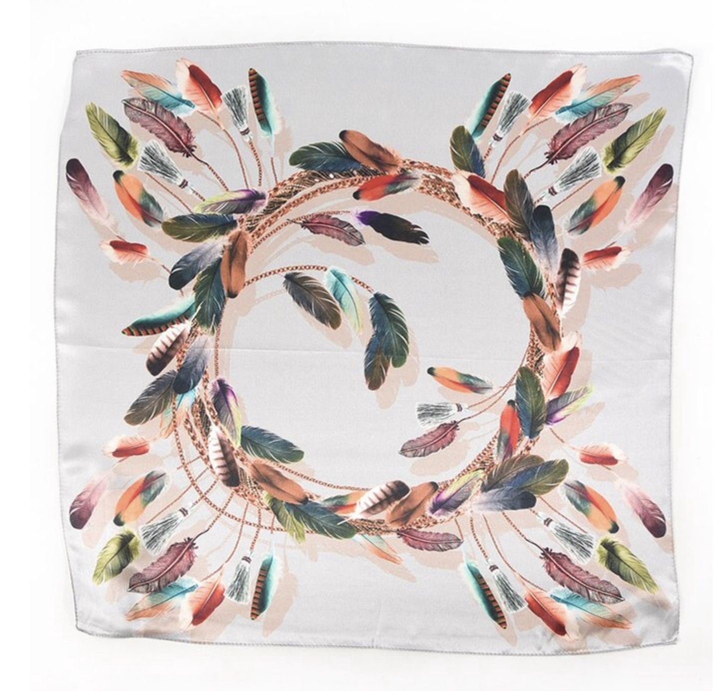 Silk Square Feather Scarf
