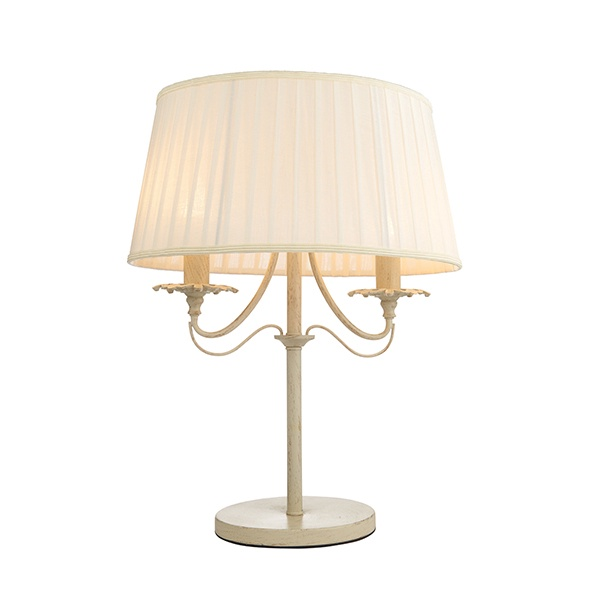 Chester 2lt table 40W SW - cream brushed gold off white faux silk