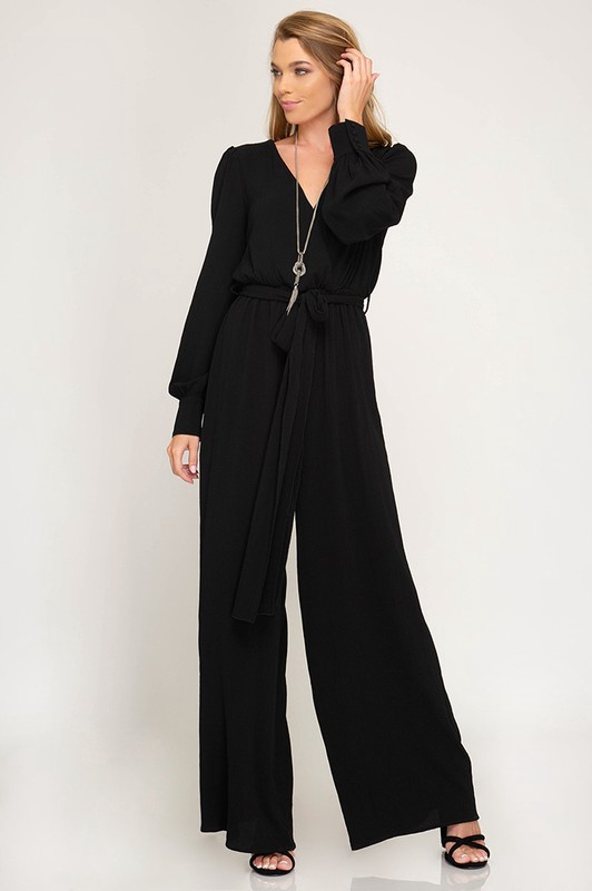Blk L/S Jumpsuit w Tie at Waist