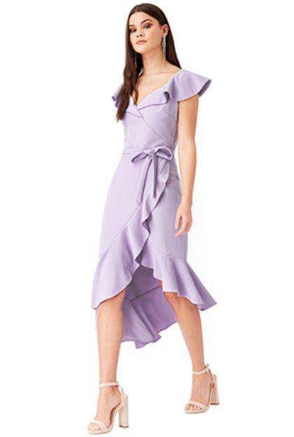 Short Dress - Lavender Asymmetric Frilled Hem Midi Dress, NEW