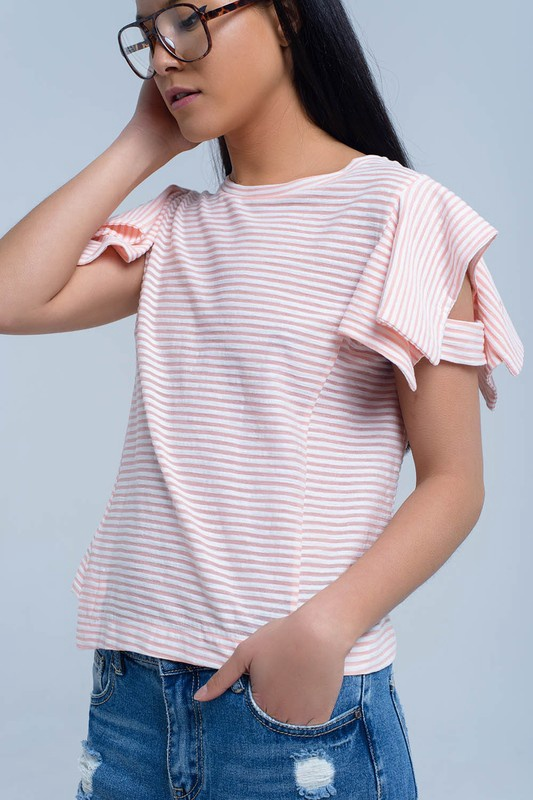 Short Ruffle Slv T w Stripes