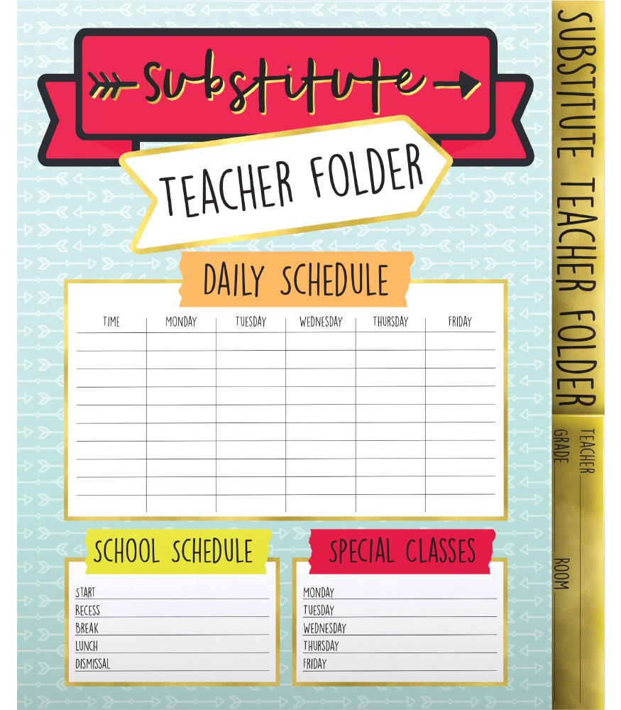 CD 136020 SUBSTITUTE TEACHER FOLDER
