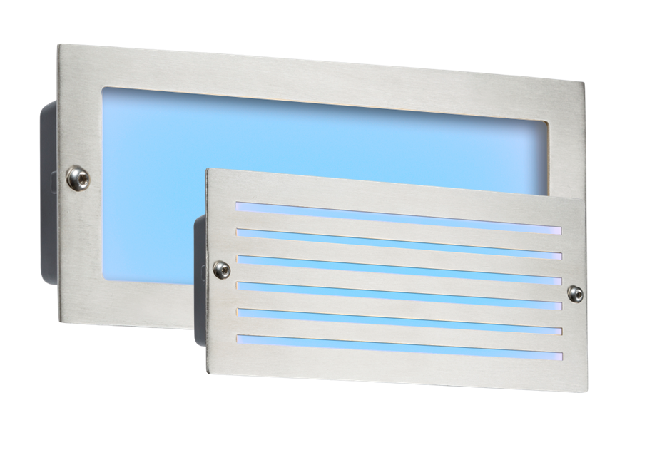 230V IP54 5W BLUE LED BRICK LIGHT - BRUSHED STEEL FASCIA