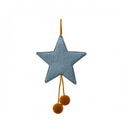 FELT STARS WITH POM POMS - MINERAL BLUE/POLLEN