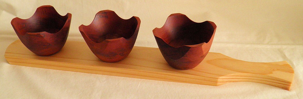 Bowls with Serving Tray - 3 bowls
