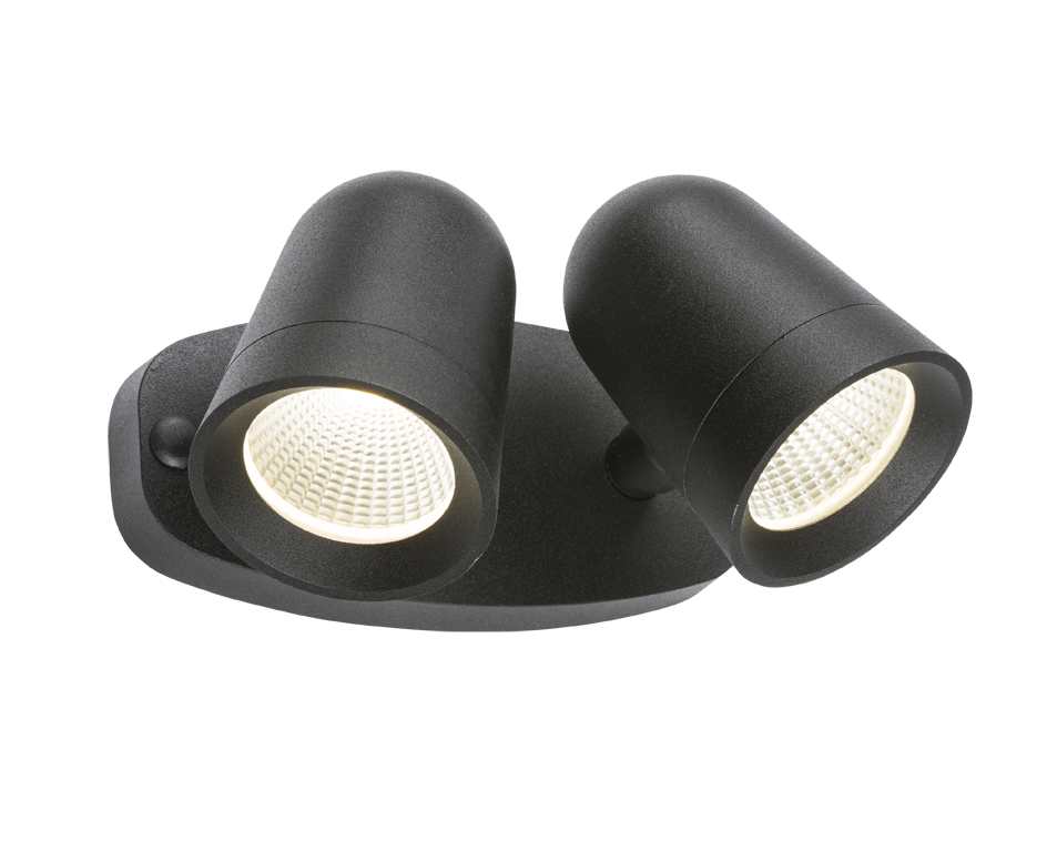230V IP65 18W LED Black Twin Spot Floodlight