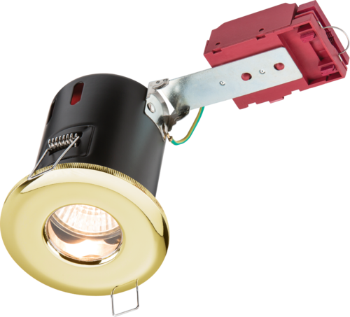 230V IP65 GU10 IC Fire-Rated Shower Downlight Brass