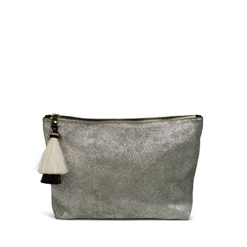 Metallic Suede Medium Pouch