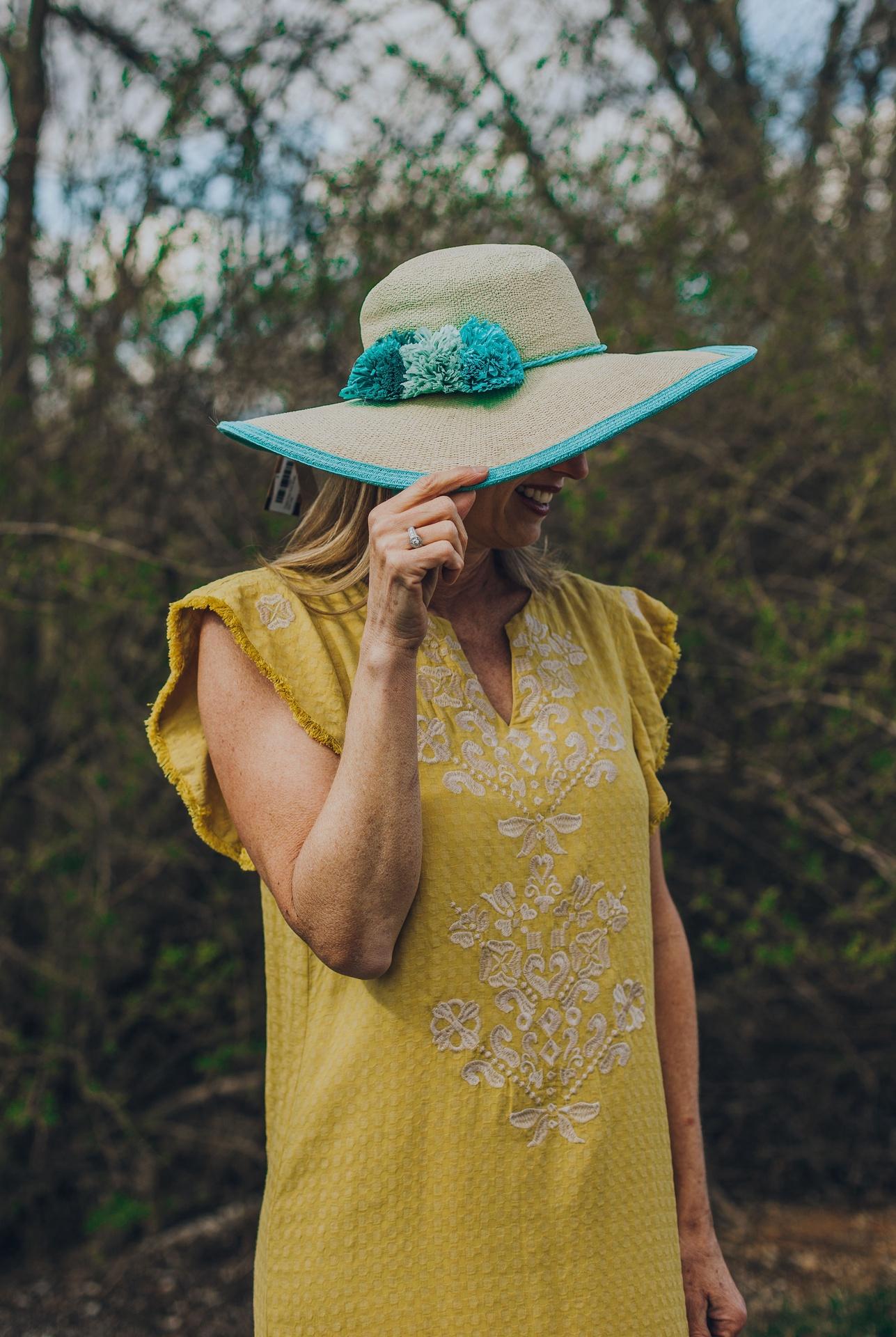 Triple Pom Pom Straw Sun Hat