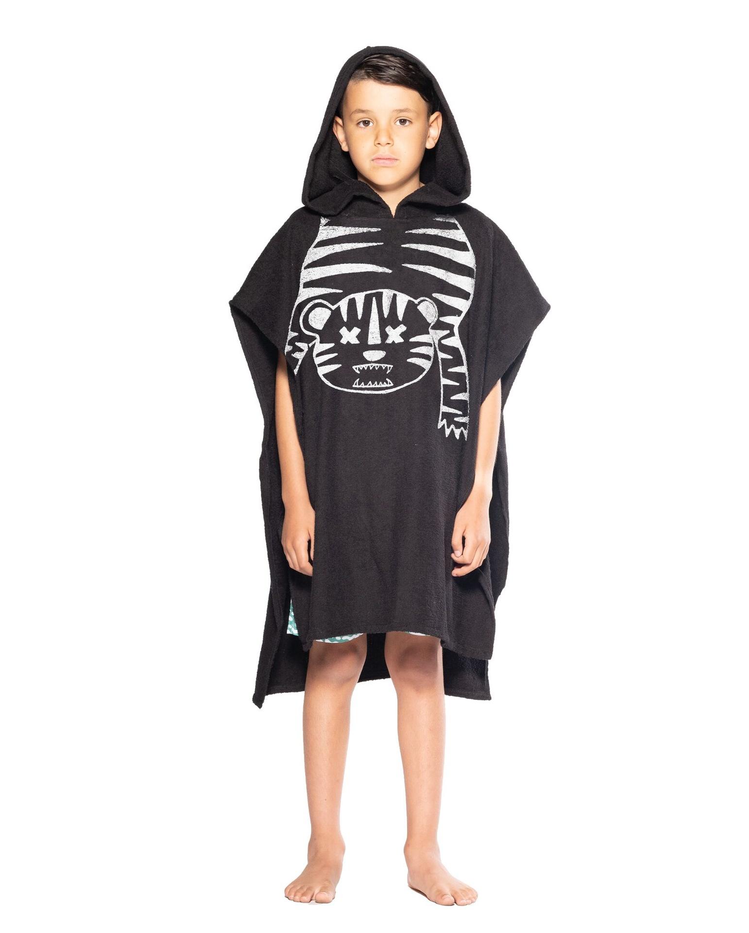 BOB Tiger Outline Hooded Towel Black