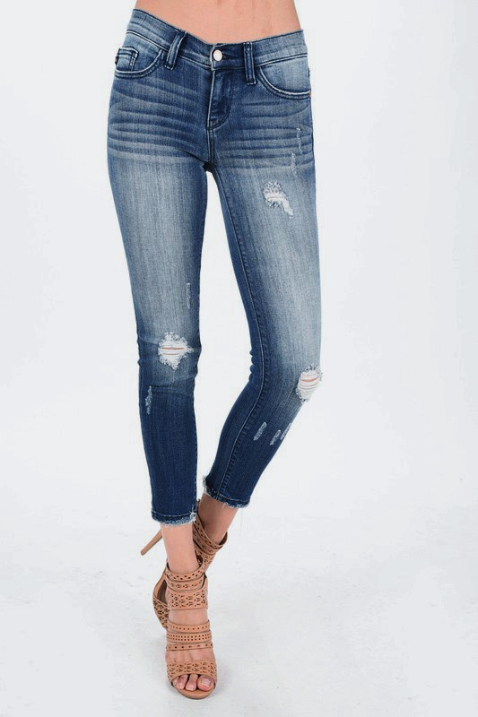 Med Wash Minimal Distress Cropped Jean