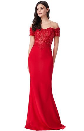 Floor Length Gown - Off The Shoulder Sequin Embroidered Maxi Dress, NEW