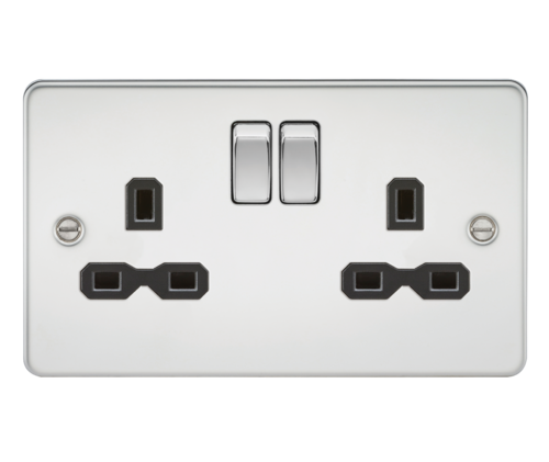 Flat plate 13A 2G DP switched socket - polished chrome with black insert