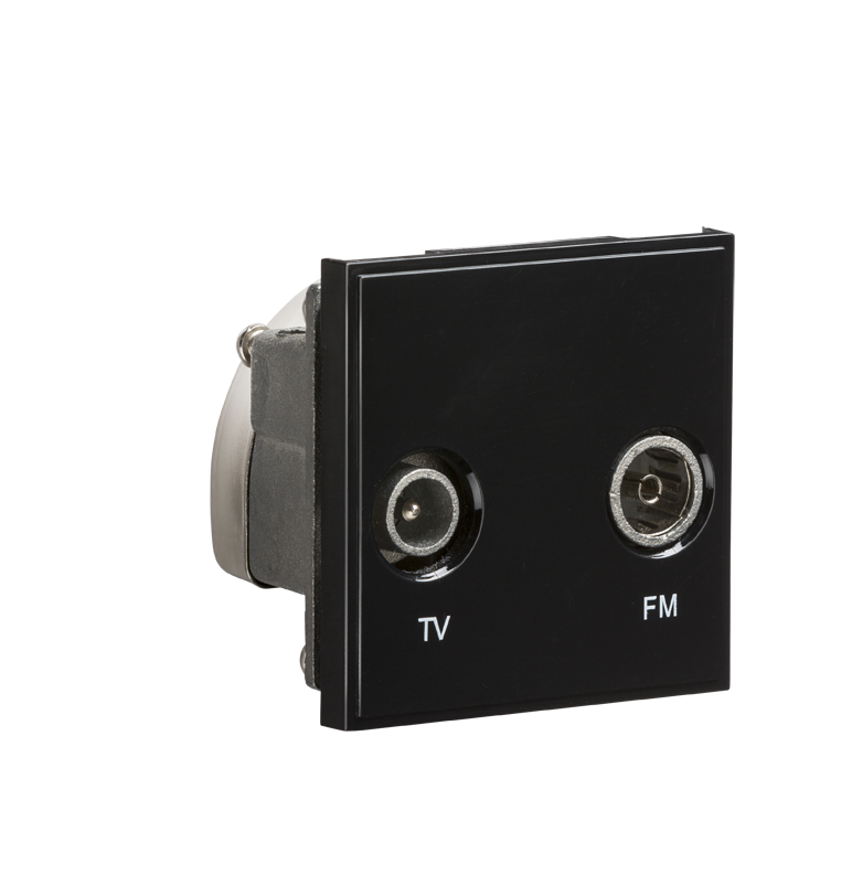 Black Modular Diplexed TV /FM DAB Outlet