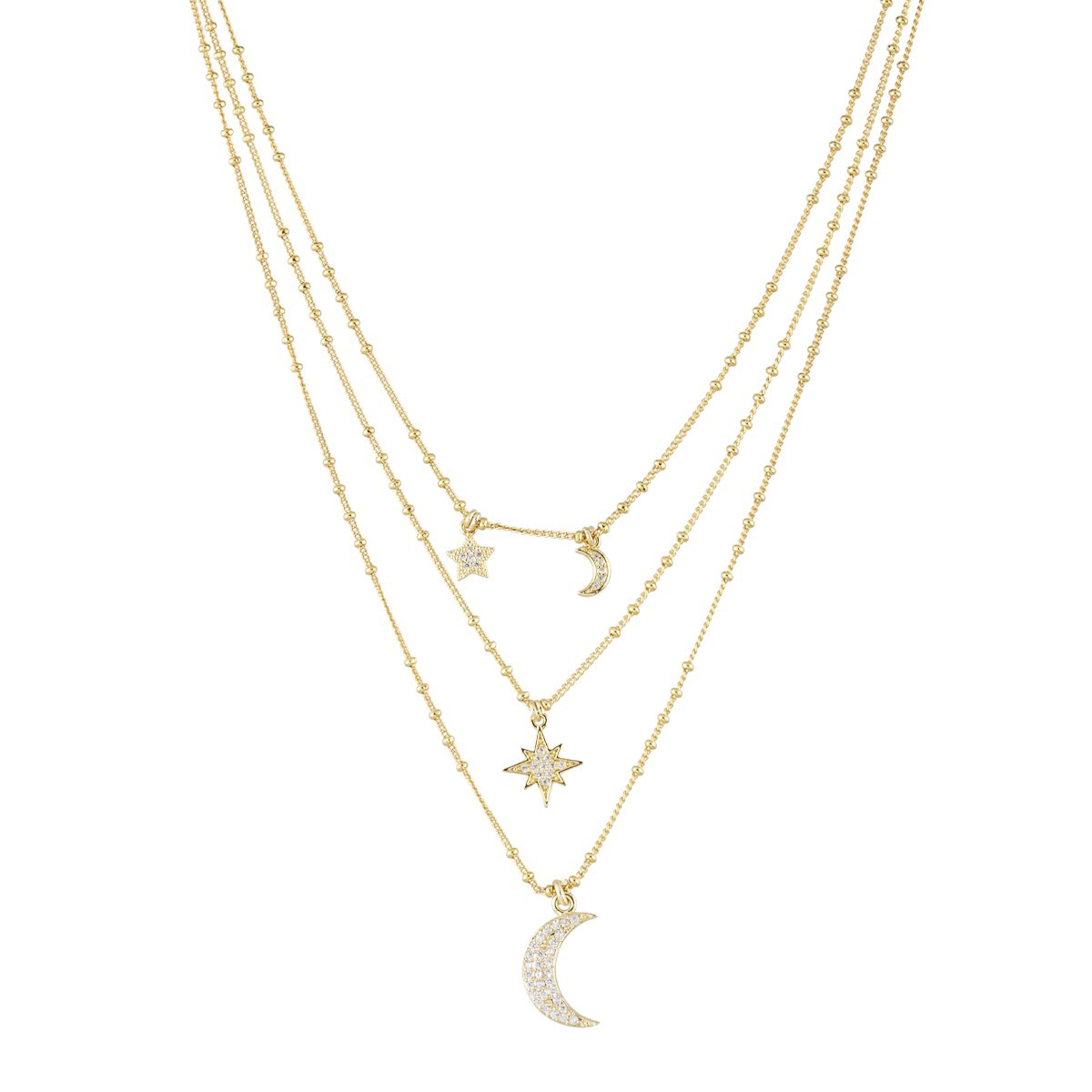 Stars and Moons Charm Layer Necklace By Ashiana